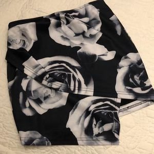 Asymmetric flower pencil skirt